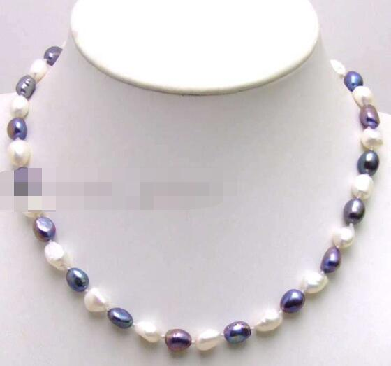 SALE Big 7mm-8mm White BAROQUE Natural Freshwater PEARL 17″ Necklace-nec5661