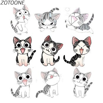 ZOTOONE Diy Patch Cute Animal Cat Iron on Patches for Clothing Heart Transfer Clothes Patch Children Clothes T-Shirt Applique E