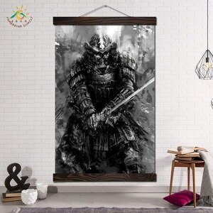 Black White Demon Drawing Samurai Wall Art Prints Poster Canvas Painting Scroll Frames Wall Pictures Home Design Decoration Home