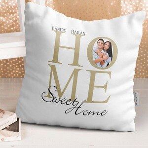 Personalized Home Sweet Home Design White Pillow-1