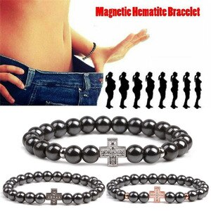 Weight Loss Charm Cross Sport Fitness Hematite Bracelet For Men Women  Magnetic Health Bracelet Fashion Jewelry