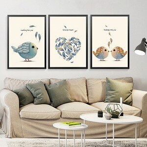 Love & Dream Art Printing Poster Love Birds Animals Canvas Painting Wall Art Pictures For Home Design Scandinavian Home Decor