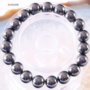 Weight Loss Black 10MM Round Bead Therapy Bangle Health Care Hematite Cord Stretch Bracelet For Men Women H373