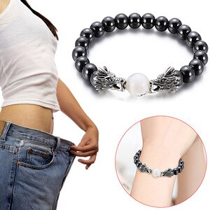 Weight Loss Black Hematite Stone Beads Bracelet Health Care Magnetic Therapy Stretch Bracelet For Women Men Jewelry Gift