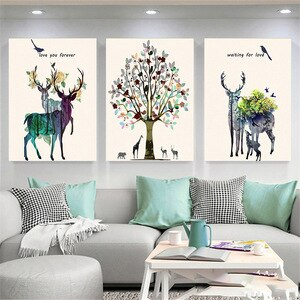 Abstract Elk Canvas Painting Flower Forest Pictures For Home Design Nordic Posters And Prints Living Room Decoration Home Decor