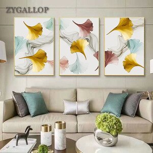 Nordic Decor Apricot Leaf Canvas Painting Modern Ink Paintings for Living Room Wall Pictures for Home Design Plant Print Posters