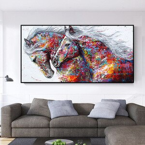 Modern Posters and Prints Graffiti Two Running Horses Wall Art Canvas Painting Animal Pictures for Living Room Home Design