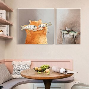 Minimalist Cat Pictures For Home Design Wall Pictures For Living Room Decor Lienzos Cuadros Decorativos