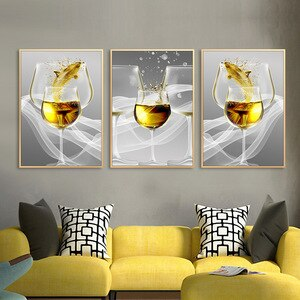 Nordic style wine glass canvas painting wall decorations bed room black and white wall picture for home design  Modern