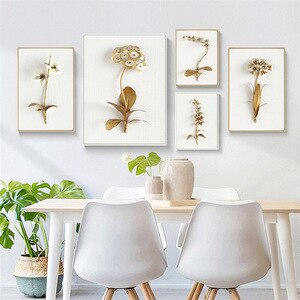 Plant Flowers Wall Art Canvas Painting Golden Leaves Posters and Print Fashion Modern Pictures Living Room Bedroom Home Design