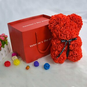 Valentine's Day Gift Teddy Bear Rose Flower Set Sterling Silver Sing Necklace Gift Box Kit Artificial Flower Rose Of Bear