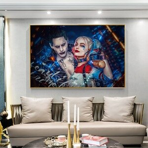 Suicide Squad Joker Jared Leto Harley Quinn Portrait Poster Pictures for Home Design Classical Movie Posters and Prints