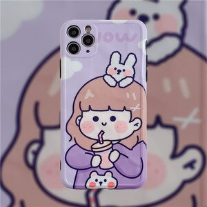 Weight Loss Milk Tea Girl's Transparent XR 11 pro/SE Soft case for Apple Xs max Mobile Phone cases 7/8Plus