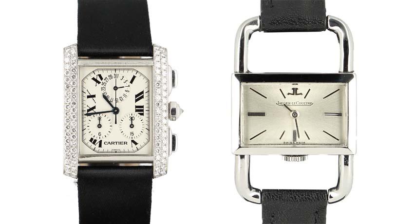 De gauche à droite : Cartier Tank Française Chrono en or gris sertie de diamants, mouvement Quartz, au prix de 14 500 € et une ravissante Jaeger LeCoultre Étrier, réalisée pour Hermès en 1960 à 1 800 €.
