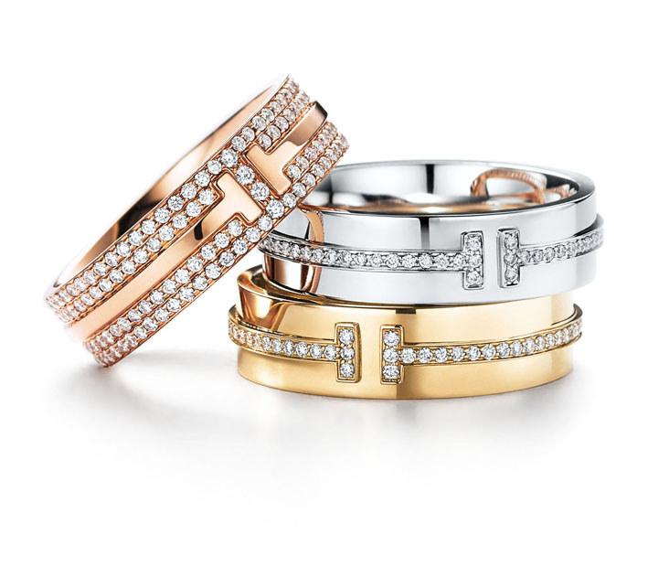 Collection Tiffany T Two en or rose ou or jaune et diamants.