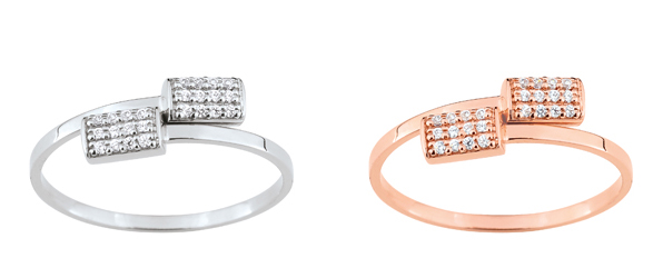 Collection Promesse by Lore. Bague en or rose, blanc ou jaune (9 carats) et oxydes de zirconium. Prix : 189 €