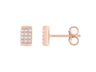 Collection Promesse by Lore. Boucles d'oreilles en or rose 9 carats et oxydes de zirconium. Prix : 95 €