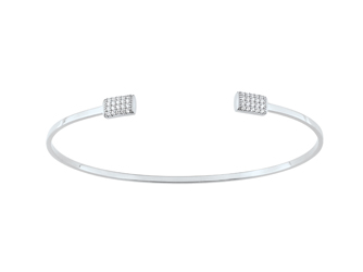 Collection Promesse by Lore. Bracelet en or blanc 9 carats et oxydes de zirconium. Prix : 399 €