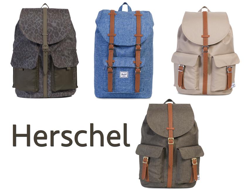 Fondée en 2009 par les frères Cormack au Canada, la marque Herschel a su s'imposer sur le marché du back pack (sac à dos en anglais). Son principe : proposer des modèles au design vintage revisité en cuir ou grosse toile, Herschel offre un style tout à la fois urbain et baroudeur des temps modernes.