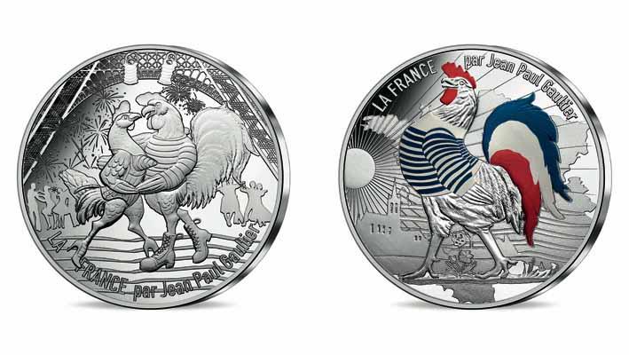 Monnaie de Paris x Jean Paul Gaultier. Deux versions 50 € argent, Le 14 juillet et Le Coq Marinière.
