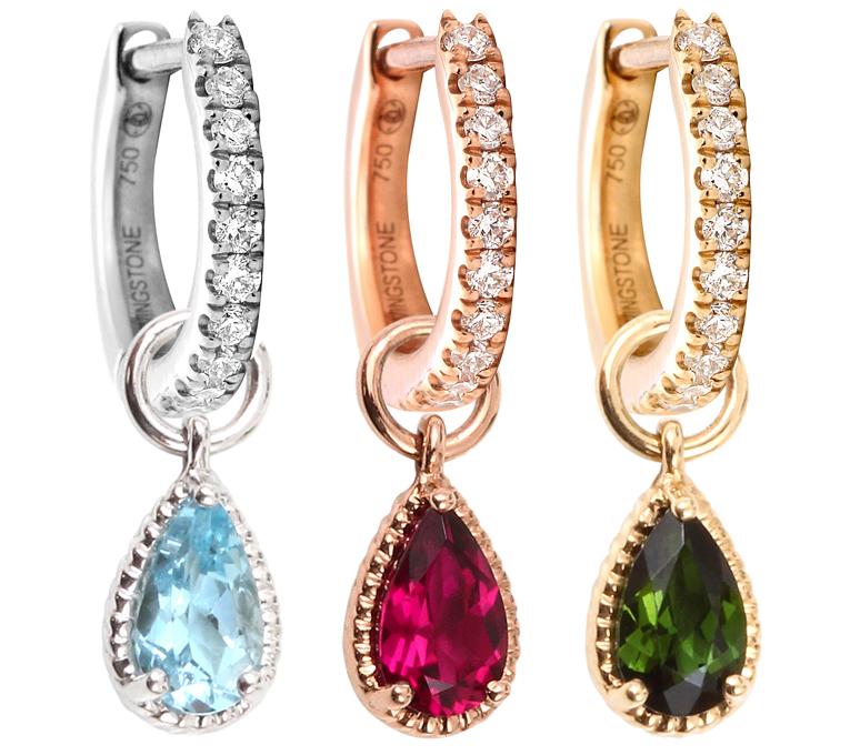 LOVINGSTONE Mini créoles or rose, jaune ou blanc pavées de diamants et charms, accompagnés de charms en pierres précieuses ou semi-précieuses.
