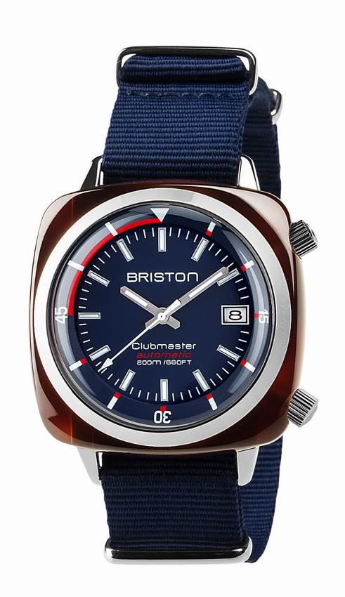 Briston Clubmaster Diver version acétate marine bracelet nato.