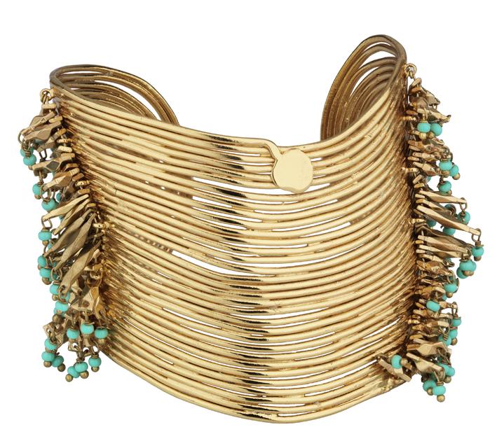 Gas Bijoux. Bracelet manchette Wave en métal doré à l'or fin et turquoise.