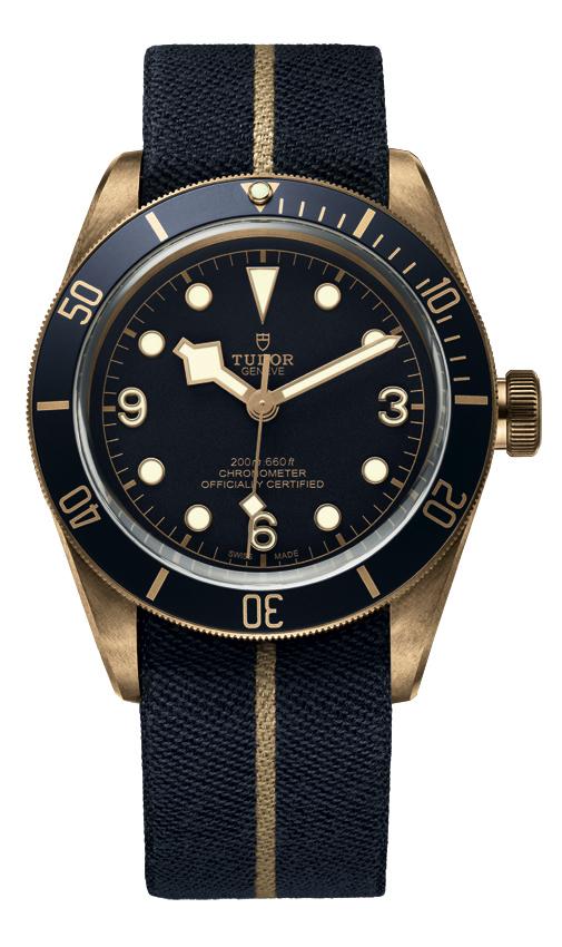 Bucherer Blue Editions, Tudor Heritage Black Bay Bronze Blue, chronomètre, bronze, 43 mm,  mouvement de manufacture calibre MT5601, bracelet textile, livré avec un bracelet en cuir marron (style cuir vintage), 3 750 €.