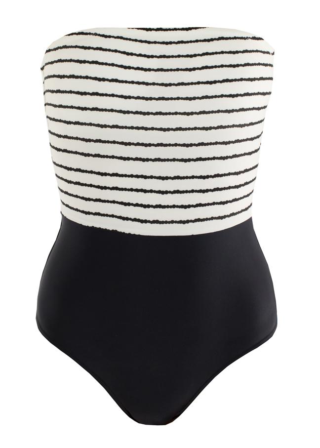 SOWE BIARRITZ. Lafitenia Stripy, une pièce bustier, bien dessiné avec son bandeau rayure noir et blanche marquant la taille et soulignant la poitrine.  59 €