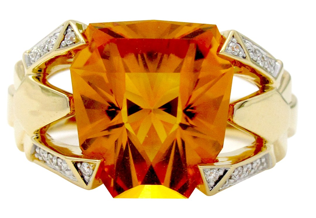 Bague ajourée King or jaune avec diamants et citrine. Collection GEM Gringoire Joaillier.
