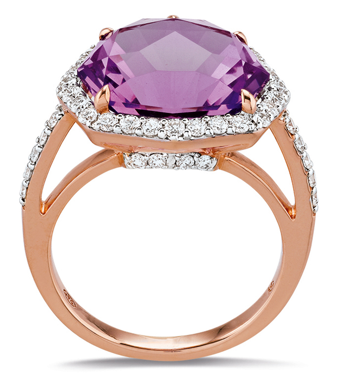 Bague Rose, version améthyste rose de France et diamants.
