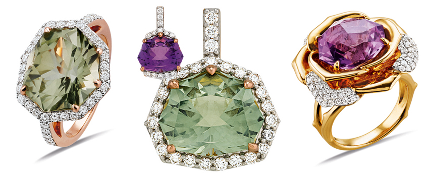 Collection GEM Gringoire Joaillier. La ligne rose se compose de colliers, bagues, pendentifs et bo.