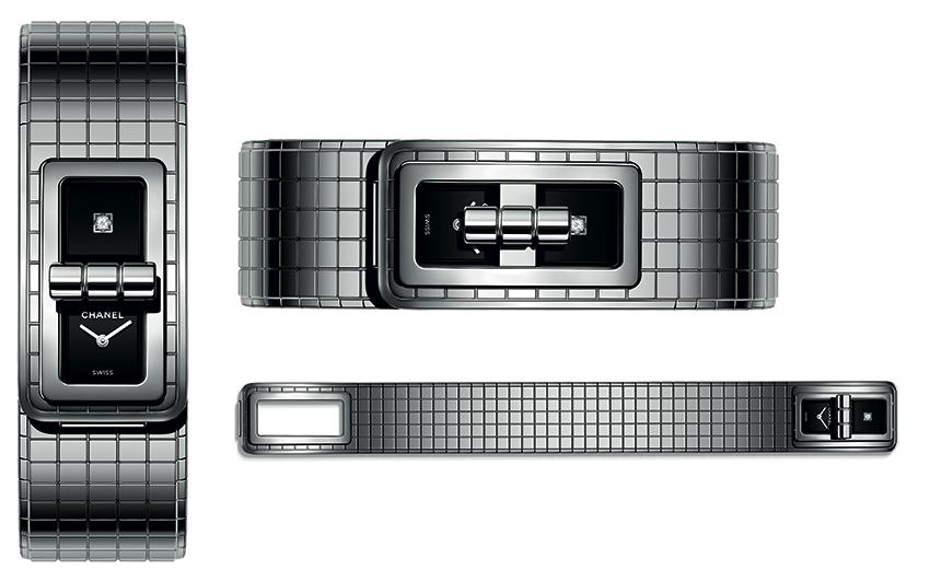 Trois angles pour découvrir la nouvelle CODE COCO CHANEL. Boîte et bracelet matelassé souple en acier. Cadrans laqués noirs, dont l'un serti d'un diamant taille princesse. Mouvement quartz de haute précision. Fermoir cadenas sur le cadran (ici en position ouvert et fermé). Étanchéité : 30 mètres. Dimensions : 38,1 x 21,5 mm. Prix public conseillé 4 850 €.