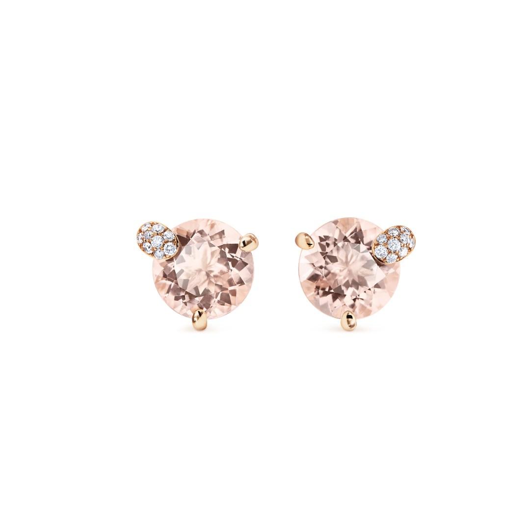 Collection «Peekaboo» de Bucherer, boucle d'oreilles avec morganites taille ronde (env. 3.50 ct au total) et diamants taille brillant.