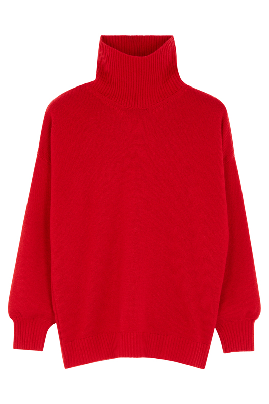 PONCHO GALLERY. Pull col montant red hot 100% Cachemire… et 100 % douceur.