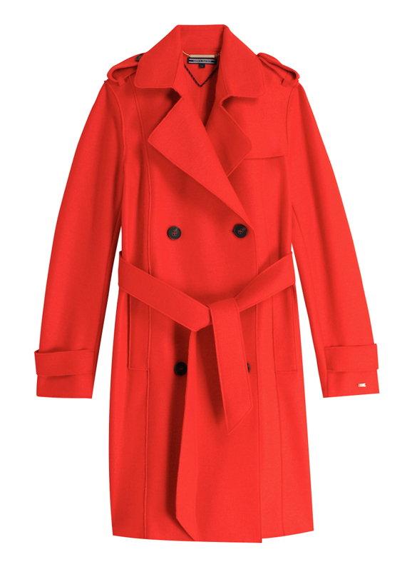 TOMMY HILFIGER, TRENCH ROUGE EN LAINE VIERGE.