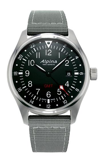Alpina - Startimer Pilot Quartz GMT - acier cadran noir - soldat AL-247B4S6