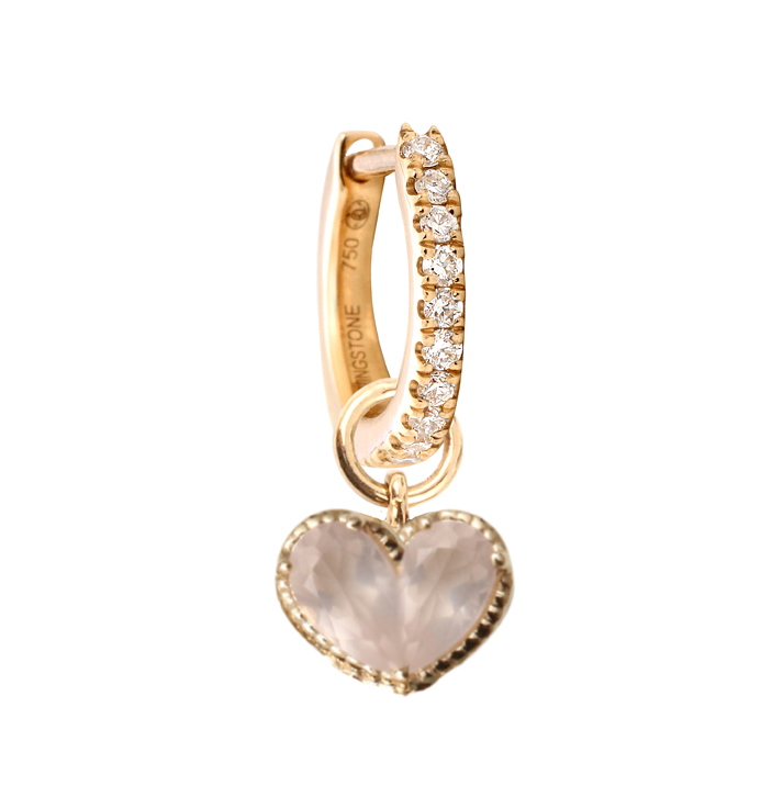 Lovingsone Paris. Charm Cœur en or jaune orné d'un quartz rose. 395 €