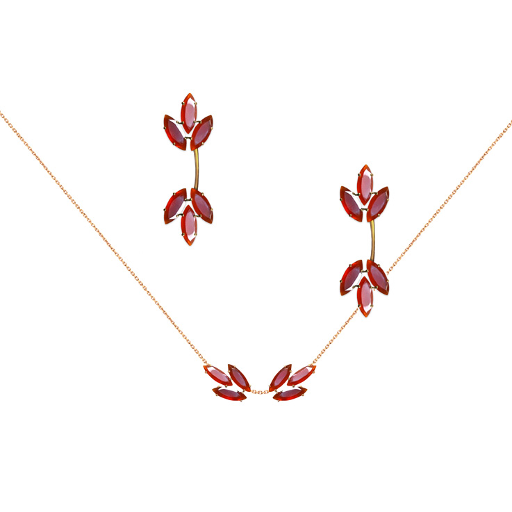 LAYONE, collier et BO collection Bengale en or rose 18 K et cornaline (taille navette).