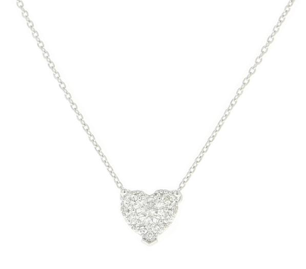 Lassaussois Joaillerie. Collier en or blanc ou rose orné d'un cœur de diamants, 1 790 €