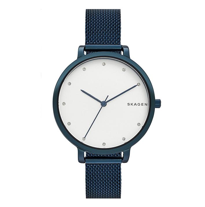 SKAGEN, la maison danoise décline une montre bleu polaire, maille milanaise. 189 €