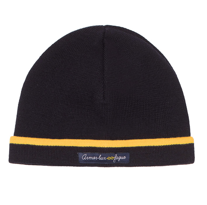 FAGUO X ARMOR LUX, bonnet bleu marine et liseré jaune.