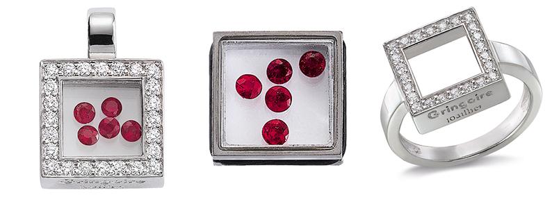 La monture Dancing Diamonds « In » : un exemple parmi d'autres de compositions, ici la version carré rubis mobiles, or blanc serti de diamants