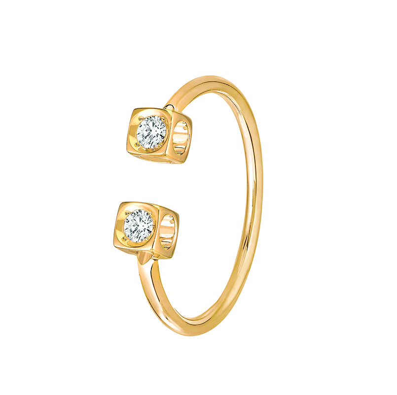Bague Le Cube Diamant en or jaune et deux diamants, 1040 €