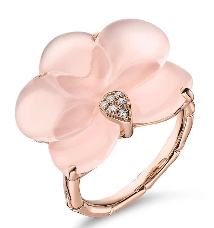 Guérin Joaillerie X Léonard Paris, Collection Muse Orchidée, quartz rose et diamant 1500 €.
