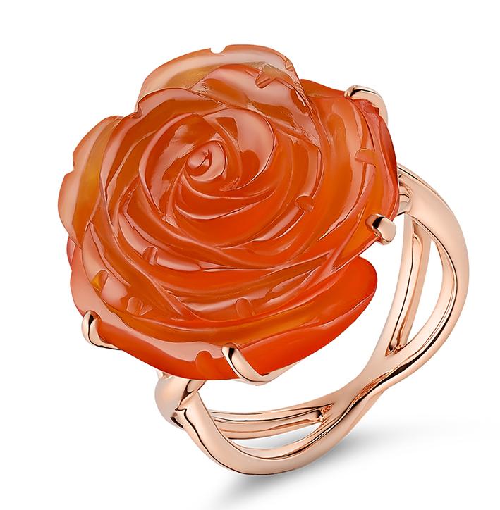 Guérin Rose en or rose et agate rouge 1300