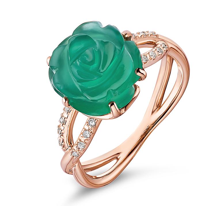Guérin Rose or rose diamants et agate verte 750 1