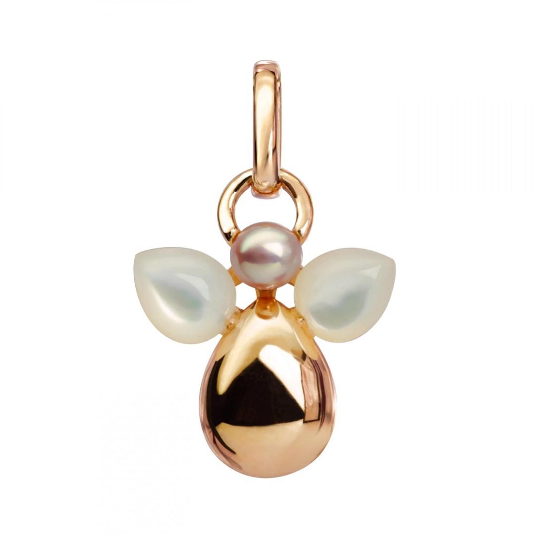 Pendentif Isabelle Langlois « Ange Zachariel » réalisé en or jaune 750/1000e avec perle de culture, nacre rose et diamant (réf: P 777): 280 €