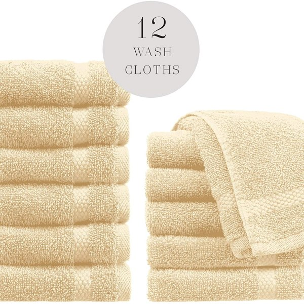Luxury Cotton Washcloths 12 Pack by White Classic Shopping Exclusives