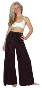 Black Rayon Wrap Pants Are Great Coverups-Try Stenciling Or Stamping With Metallic Paint.